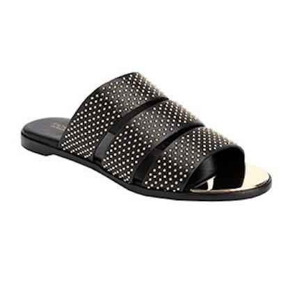 Rivi Studded Leather Tri-Strap Sandals