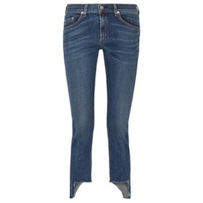 The Capri Distressed Mid-Rise Skinny Jeans