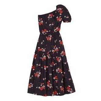 One-Shoulder Marguerite Floral Poplin Dress