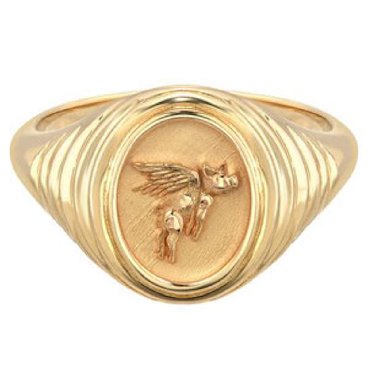 Flying Pig Tiered Fantasy Signet Ring