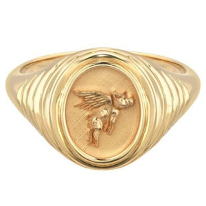 Flying Pig Tiered Fantasy Signet Ring