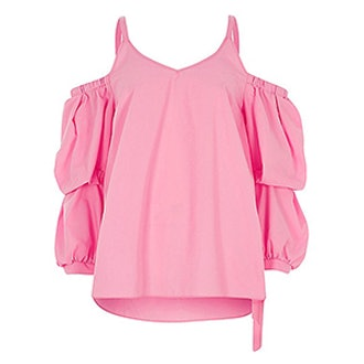 Puff Sleeve Cold Shoulder Top