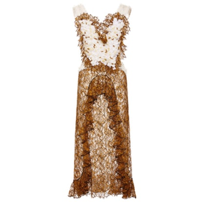 Amber Hand Embroidered Honeycomb Dress
