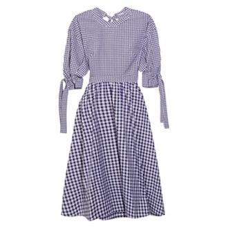 Open-Back Gingham Cotton Dress