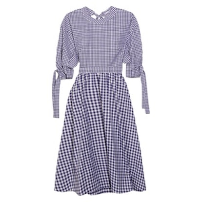 Open-Back Gingham Cotton Dress