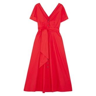 Zoey Cutout Stretch-Cotton Poplin Midi Dress