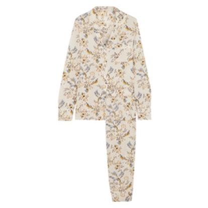 Poppy Snoozing Floral-Print Stretch-Silk Crepe De Chine Pajama Set