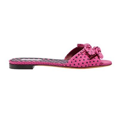 Cleo Polka-Dot Silk And Cotton-Blend Sandals