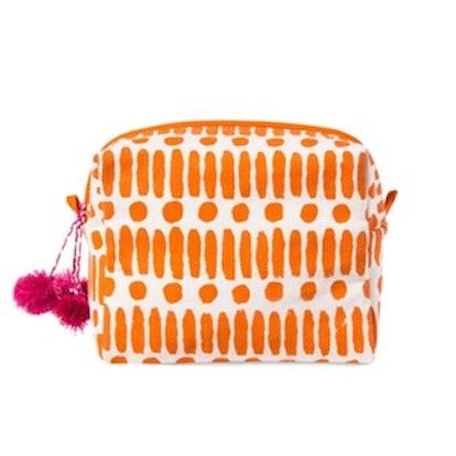 Accompany Block Printed Cosmetics Bag in Orange