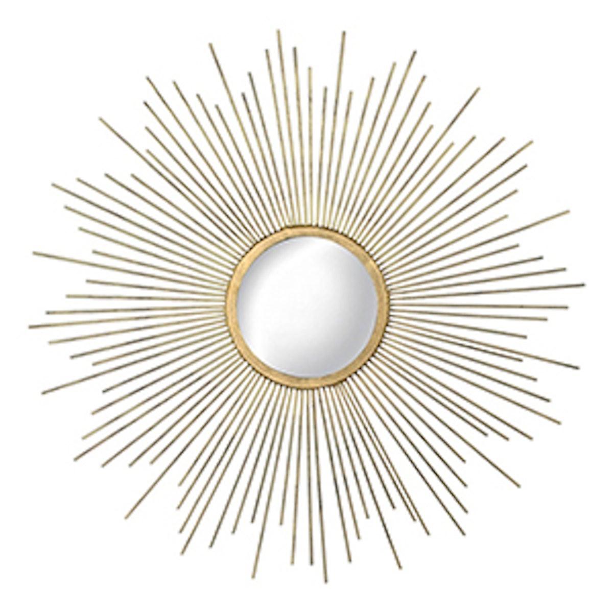 Sunburst Decorative Wall Mirror Metal Gold
