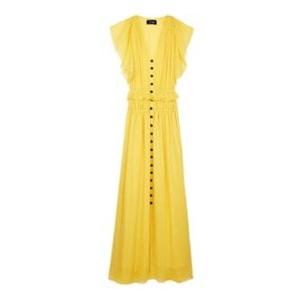 Long Yellow Silk Buttoned Dress