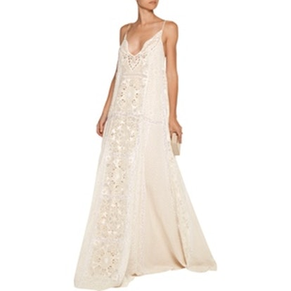 Lace-Trimmed Broderie Anglaise Silk-Chiffon Gown