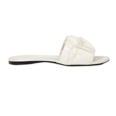 Asymmetric-Ruffle Satin Slide Sandals