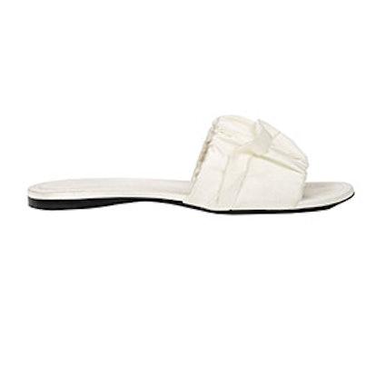 Asymmetric-Ruffle Satin Slide Sandals