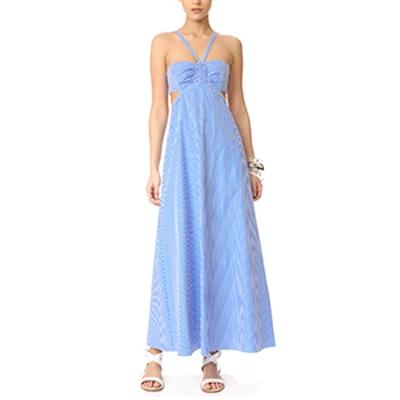 Gingham Ruched Halter Dress