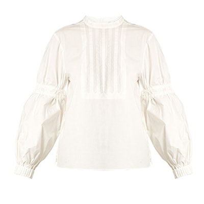 Ruched-Sleeve Cotton-Poplin Top