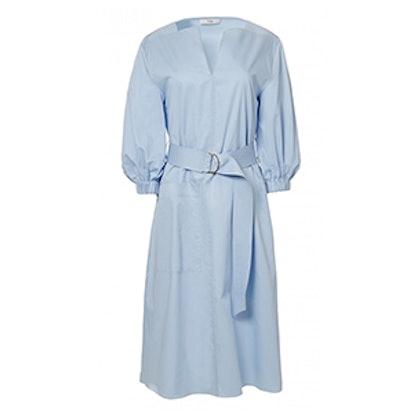 Satin Poplin Splitneck Dress