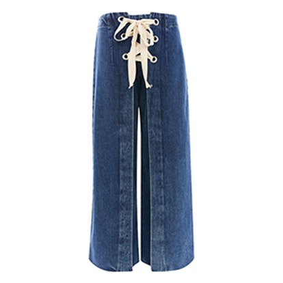 Moto Lace Up Cropped Wide Leg Jeans