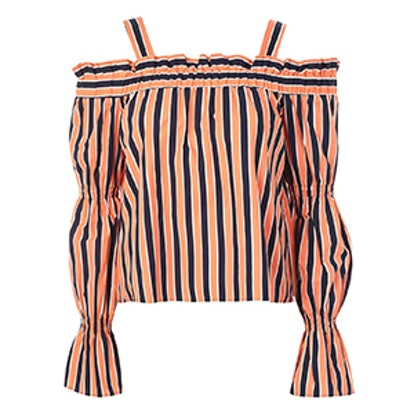 Stripe Tiered Sleeve Bardot Top