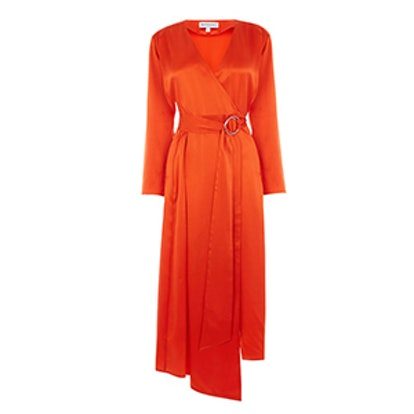 Silk Long Sleeve Wrap Dress