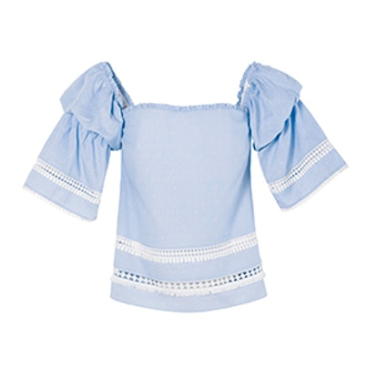 Off-The-Shoulder Cotton Dobby Top