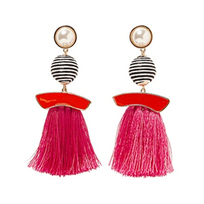 Faux Pearl Earrings With Fringe