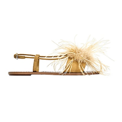 Flat Sandals With Feathers Detail