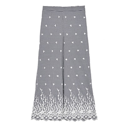 Gingham Check Trousers With Contrasting Embroidery