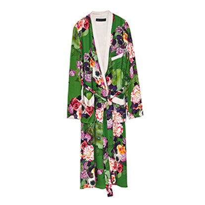 Long Floral Print Kimono