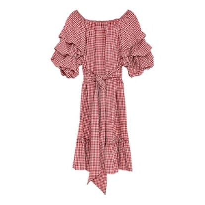 Gingham Dress With Ruffled Sleeves