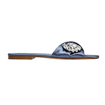 Satin Slides With Gem Buckle