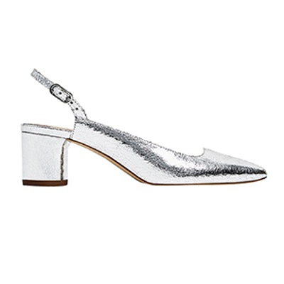 Silver Slingback Court Shoes