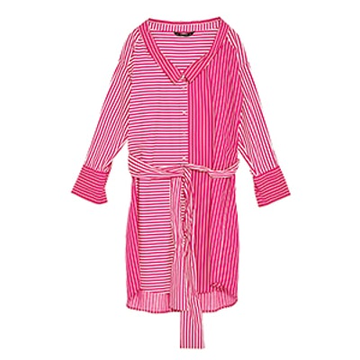 Striped Contrasting Shirt Dress