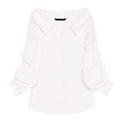 Wide Open Neck Shirt With Puffy Sleeves