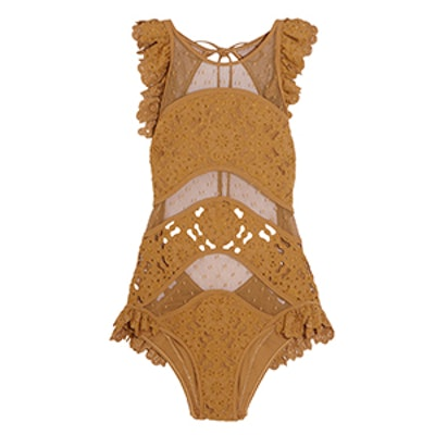 Good Times Ruffled Broderie Anglaise And Point D'Espirit Swimsuit
