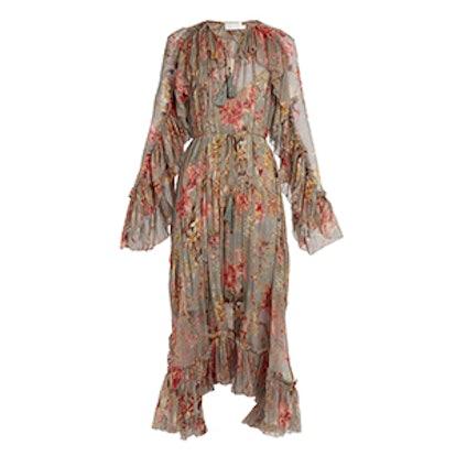 Mercer Floating Floral-Print Silk-Chiffon Dress