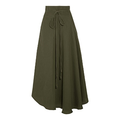 Rosehip Tencel And Linen-Blend Wrap Skirt