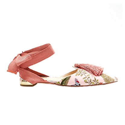 Aquazzura For de Gournay Embroidered Flats