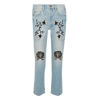 Conjure Embroidered High-Rise Straight-Leg Jeans