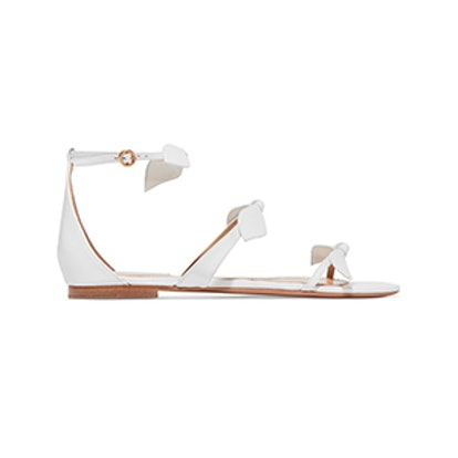 Bow-Embellished Leather Sandals