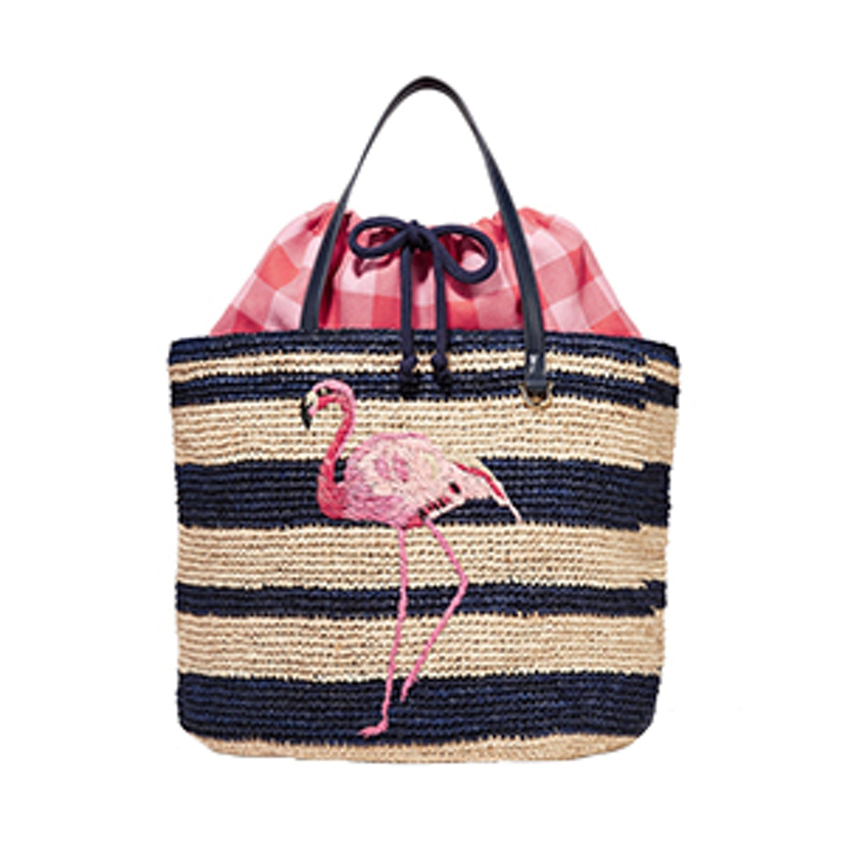Leather-Trimmed Embroidered Crocheted Straw Tote