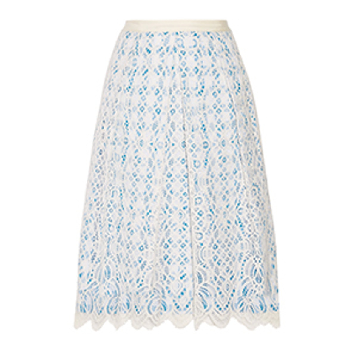 Lakeville Lace And Gingham Cotton-Blend Skirt