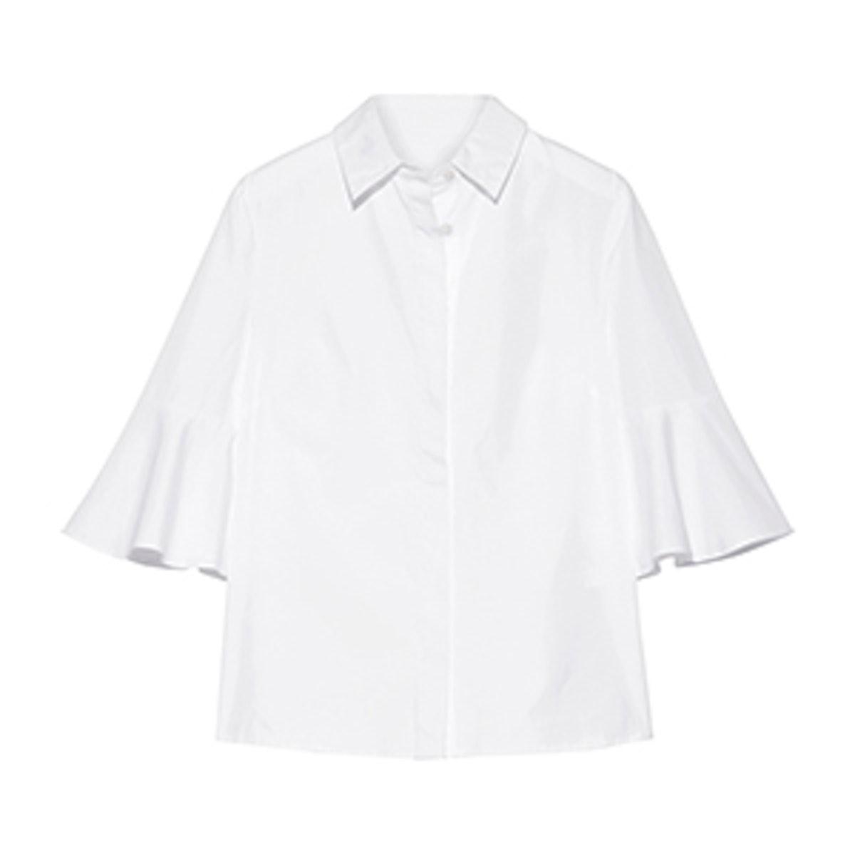 Bell-Sleeve Cotton-Poplin Shirt