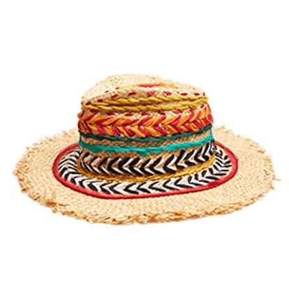 Woven Silk And Raffia Panama Hat