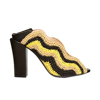 Wave Foldable-Heel Raffia Mules