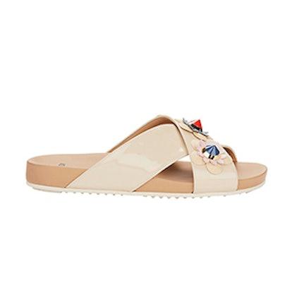 Floral Detail Criss Cross Flat Sandals