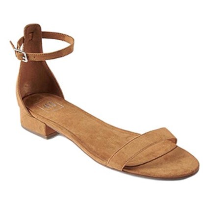 Ankle-Strap Suede Sandal
