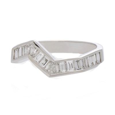 Origami Line Ring In 18K White Gold