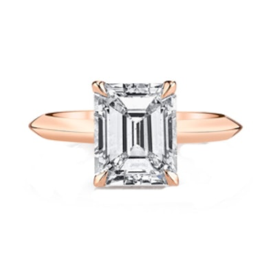 2.43 CT. Emerald Cut Rose Gold Engagement Ring