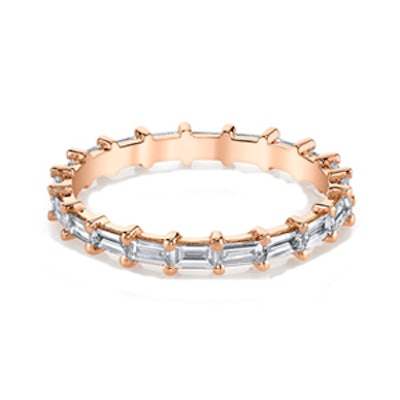 Baguette Eternity Band in 18k Rose Gold with White Diamonds